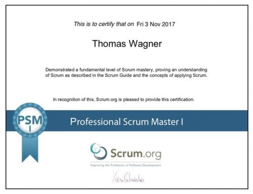 Scrum Master Professional - Auszeichnung Thomas Wagner Firma World-of-edv