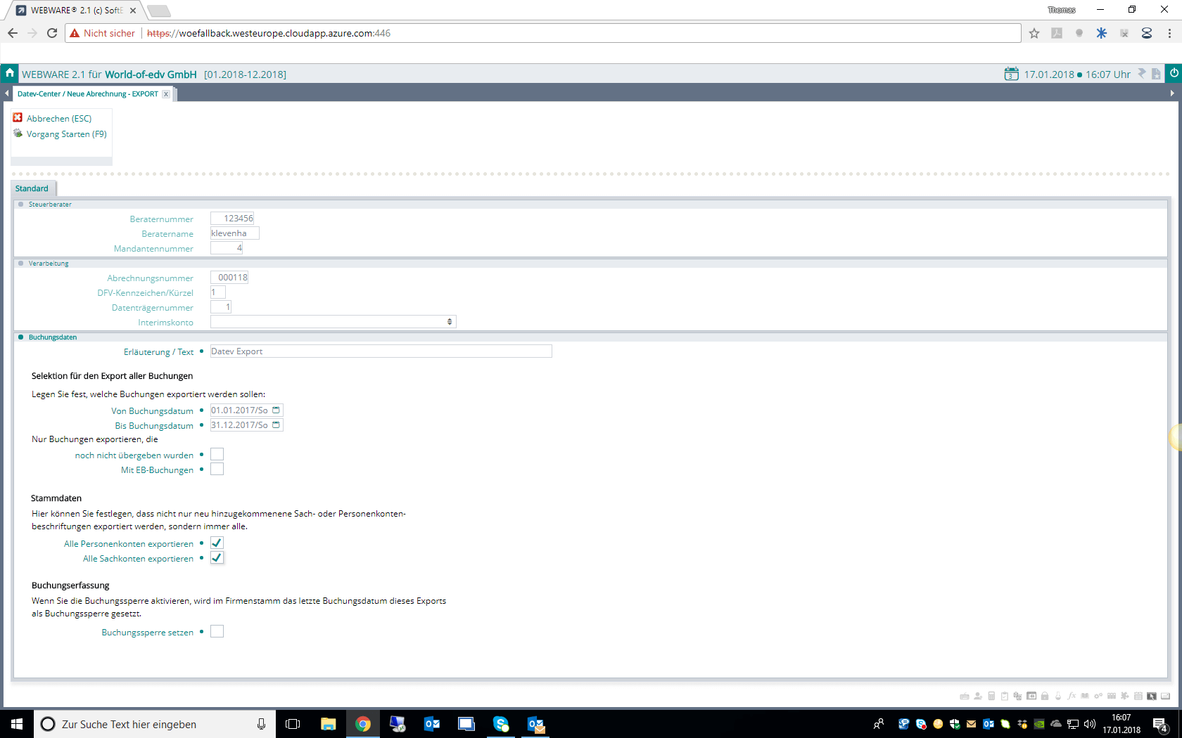 Screenshot Datev in der WEBWARE