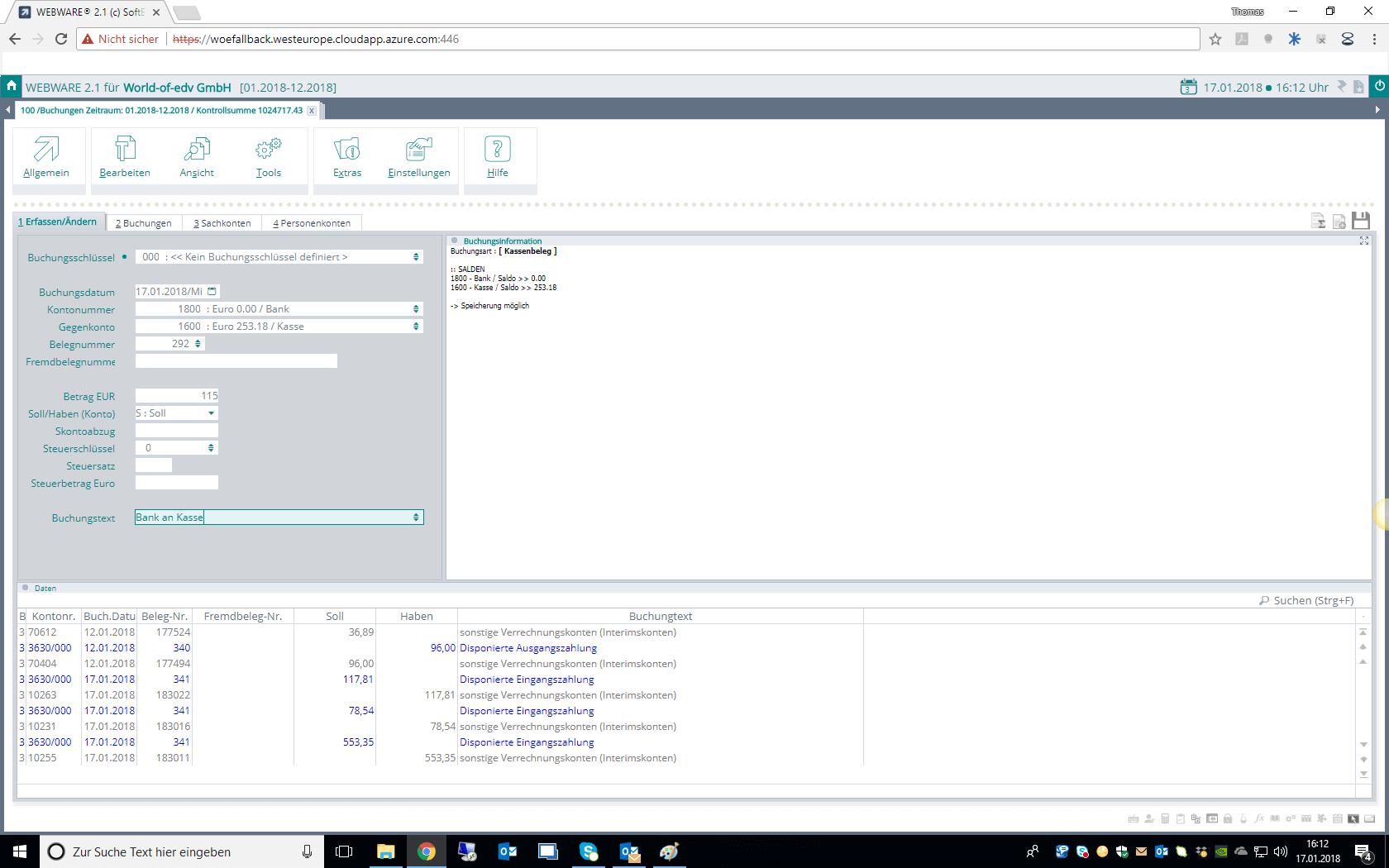 Screenshot Finanzbuchhaltung (Fibu) in der WEBWARE