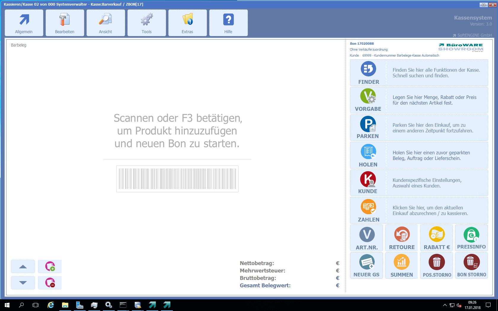 Screenshot der Oberfläche vom Kassensystem - Kasse 3.0 für BüroWARE