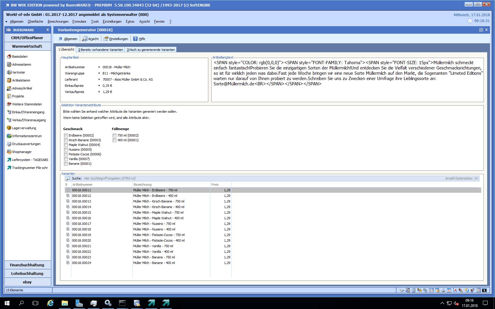 Screenshot von den Varianten - Möglichkeiten für Artikel im ERP System BüroWARE