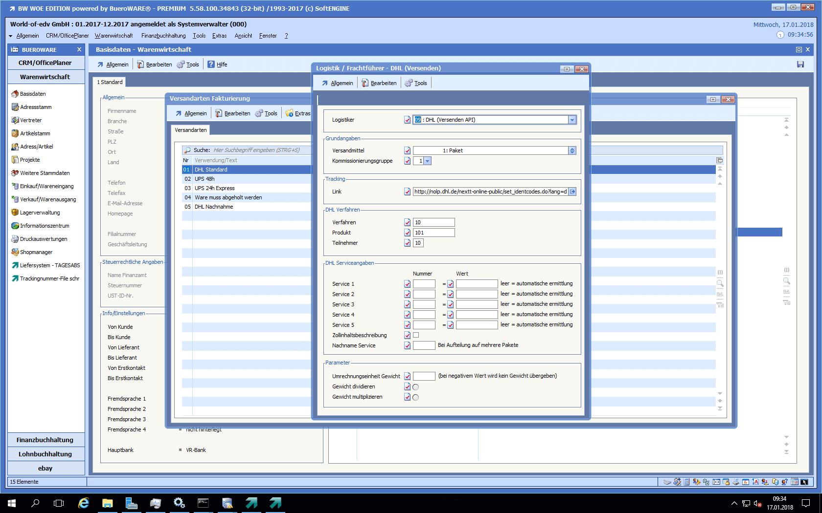 Screenshot von enem Beispielversender DHL in der BüroWARE