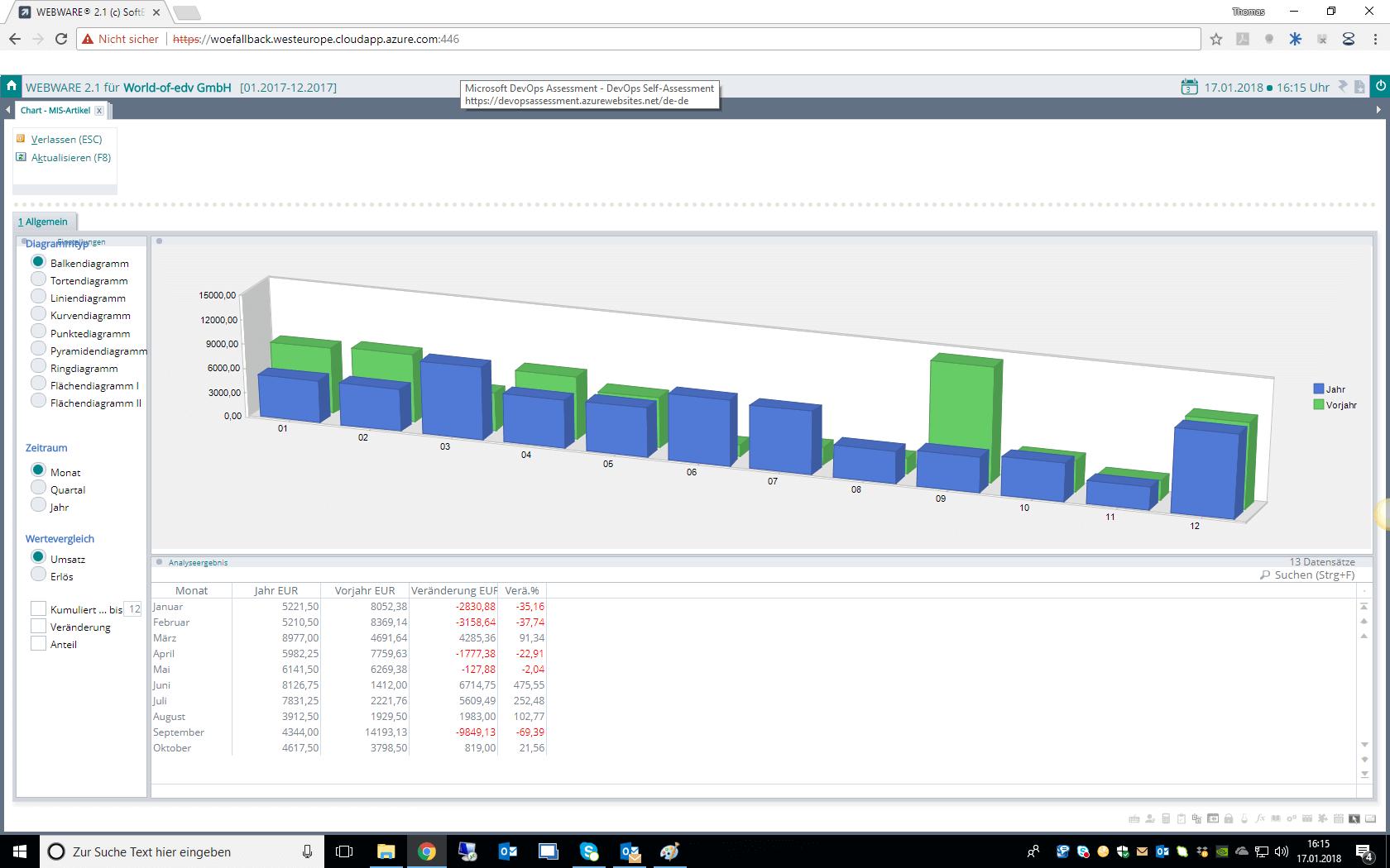 Screenshot Warenwirtschaft in der WEBWARE