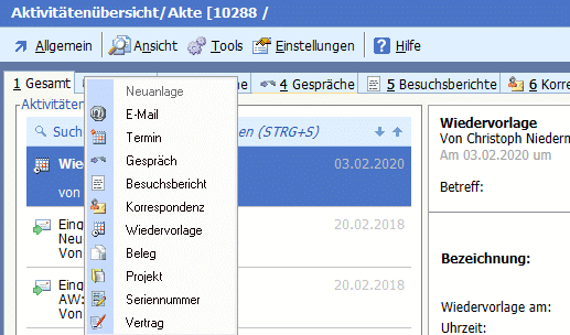 Screenshot der Kundenkommunikation in der BüroWARE WEBWARE durch das Mailsystem