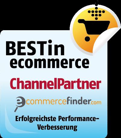 Auszeichnung Best in Ecommerce - Channelpartner - erfolgreichste Performance Verbesserung