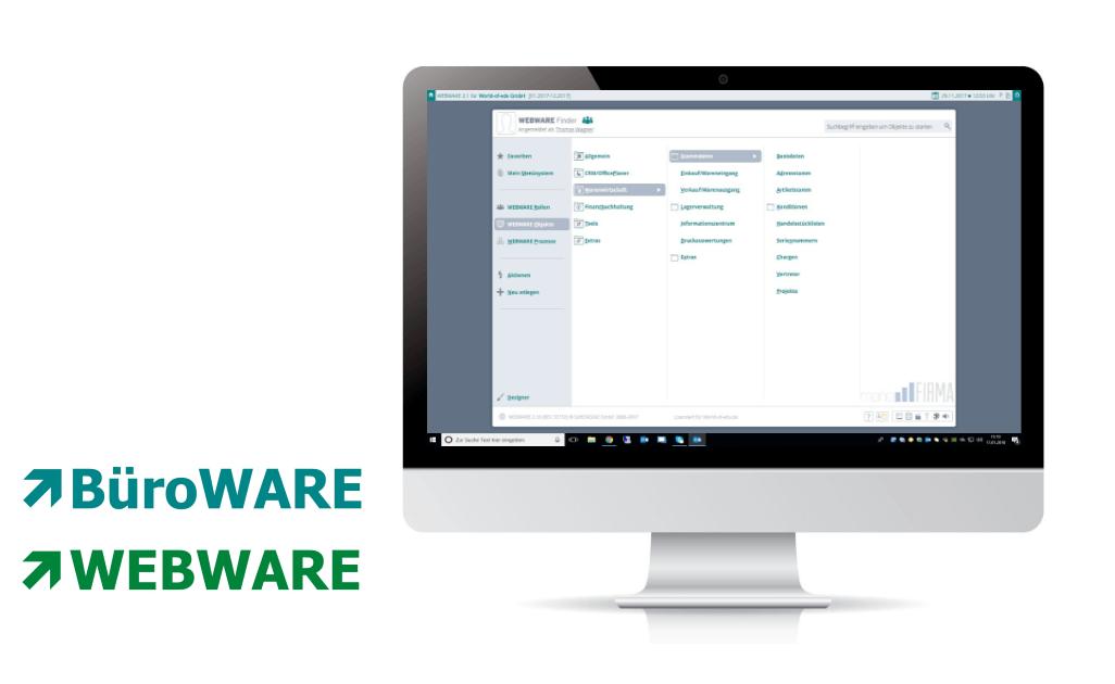 Symbolbild am iMac - Screenshot der WEBWARE von Softengine - Wawi, Fibu und Lagerverwaltung - Komplettsystem