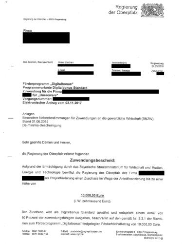 Bewilligungsbescheid des Digitalbonus Bayern - Beispiel aus Antrag