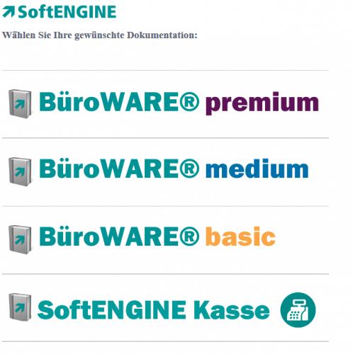 Übersicht der Dokumentationen von BüroWARE und der SoftENGINE Kasse - GoBD konform