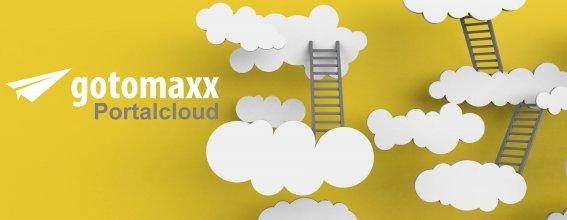 Titelbild zur Portalcloud - einzelne Wolken, verbunden mit Leitern