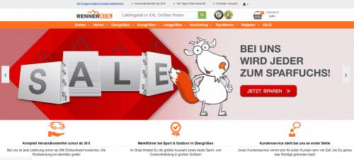 Screenshot vom Onlineshop unseres Kunden RennerXXL - Outdoortbekleidung - Erfolg feiern
