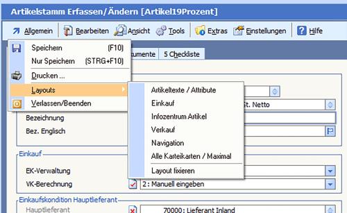 Individuelle Oberfläche innerhalb der BüroWARE - Artikellayout Screenshot
