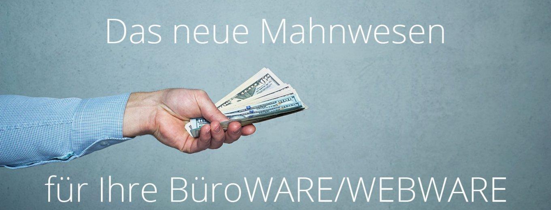 Titelbild Mahnwesen - offene Posten Ihrer BüroWARE/WEBWARE - Hand mit Geldscheinen