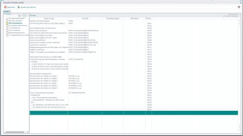 Screenshot der WEBWARE - Variablenauswahl für das Objektsystem
