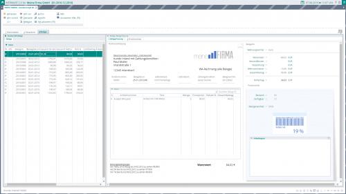 Screenshot der WEBWARE - Objektsystem Reiter 3 Belegerfassung