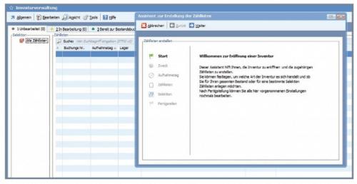 Screenshot vom Assistenten für Inventur innerhalb Ihrer BüroWARE 6.0