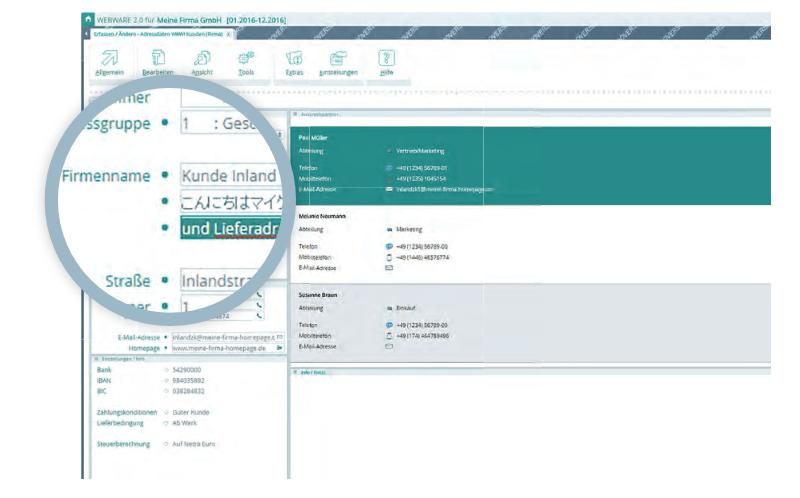 Screenshot Beispiel für UTF-8 ERP-System - Adressdaten in Japanisch in der WEBWARE