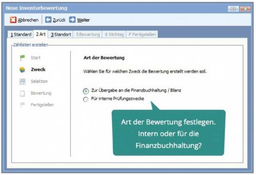 Screenshot vom Assistenten für Inventurbewertung innerhalb Ihrer BüroWARE 6.0 / WEBWARE 3.0