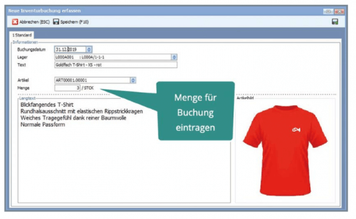 Screenshot zur Vereinfachung der Inventur - Artikeldaten und Bild zur Vermeidung von Verwechslungen