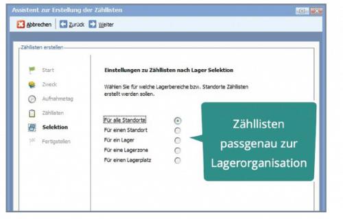 Screenshot vom Assistenten zur Erstellung von Zähllisten innerhalb Ihrer BüroWARE