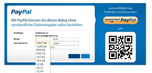 Screenshot der Paypal Direktzahlung innerhalb des Belegs mit Express-Kauf Button und praktischem QR Code