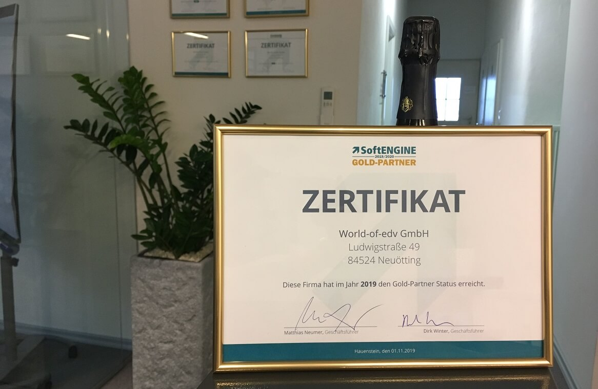 Softengine Goldpartner Zertifikat 2020