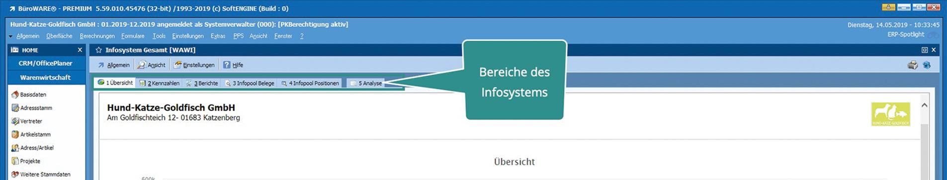 MIS - Infosystem innerhalb BüroWARE WEBWARE - für Ihre Verwaltung von Kundendaten - CRM Software
