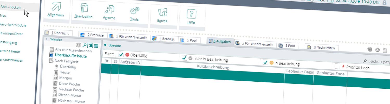PAN - Prozesse, Aufgaben, Nachrichten - für CRM Management innerhalb von BüroWARE/WEBWARE