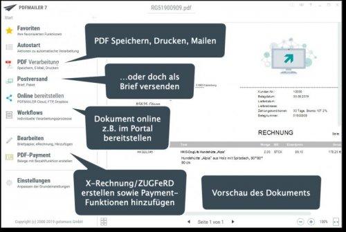 PDFMailer 7 - eRechnung und ZUGFeRD einfach erstellen, versenden und übertragen