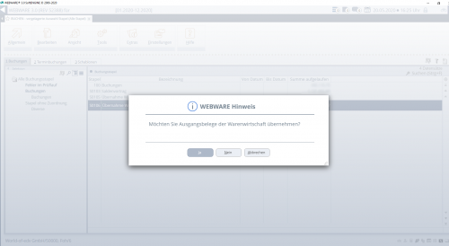 Finanzbuchhaltung Screenshot WEBWARE - Wawi - Fibu - Übernahme Belegdaten Kontenbuchungen