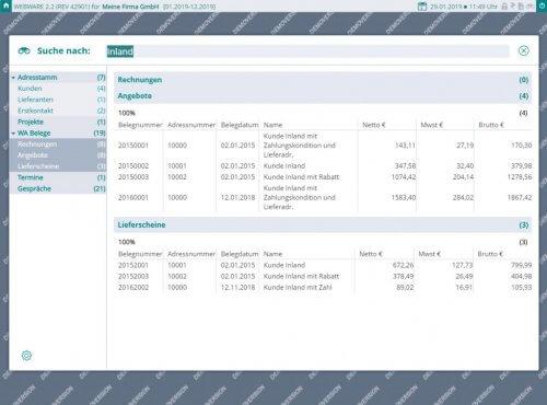 Modernes ERP - mit Spotlight im kompletten System nach Informationen suchen - Screenshot WEBWARE