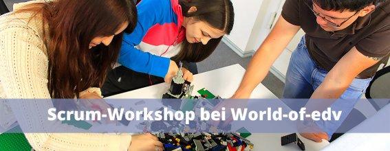 Unser Scrum Workshop - Titelbild für Blogbeitrag - World-of-edv Mitarbeiter beim Seminar