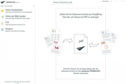 Weiterverarbeitungsmöglichkeiten Online der Rechnung mit PDFMailer