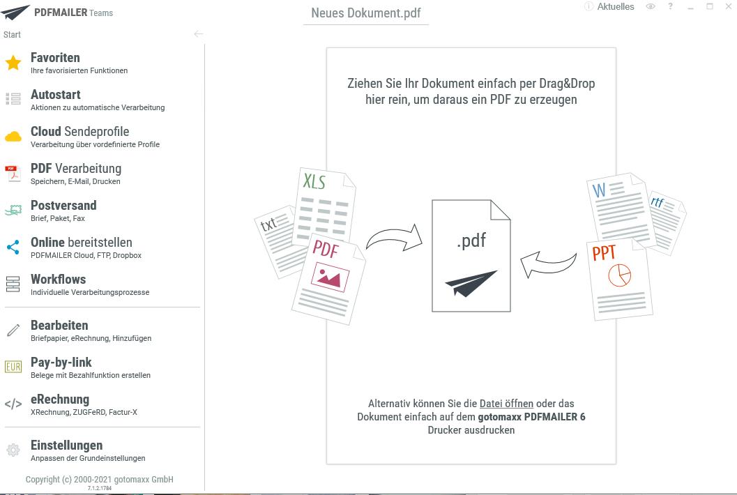 Die Startseite des PDF Mailers
