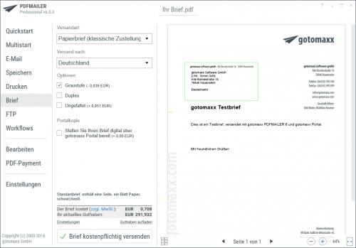 Briefversand mit dem PDFMAILER