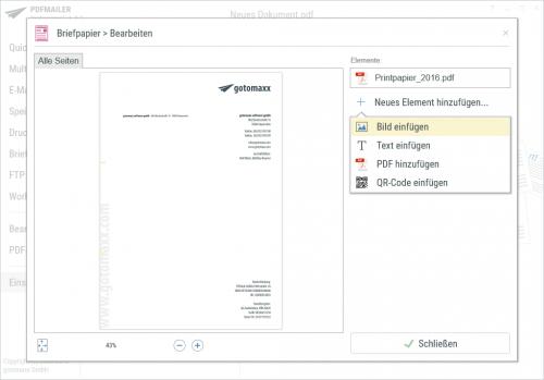 Briefpapier hinterlegen im PDFMAILER
