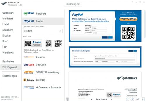 Zahlung mit PAYPAL in Ihrer PDF Datei