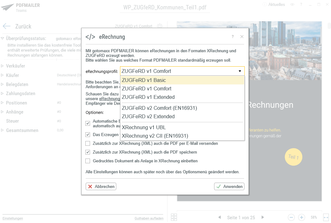 Beim Druck ganz einfach das gewünschte E-Rechnungsformat wählen